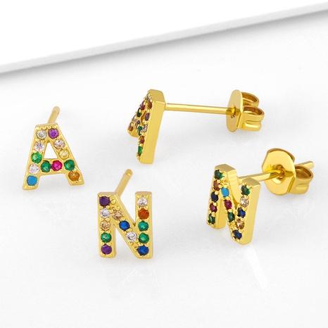 Boucles d'oreilles en cuivre zircon couleur micro-incrustées à la mode 26 lettres en gros NHAS341479's discount tags