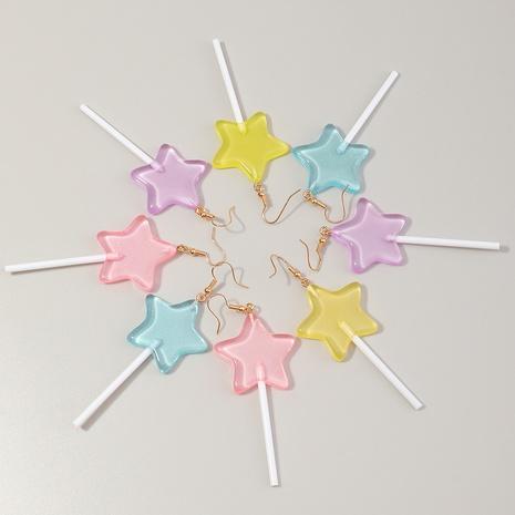boucles d'oreilles sucette étoile créative en résine de couleur bonbon à la mode NHNZ341517's discount tags