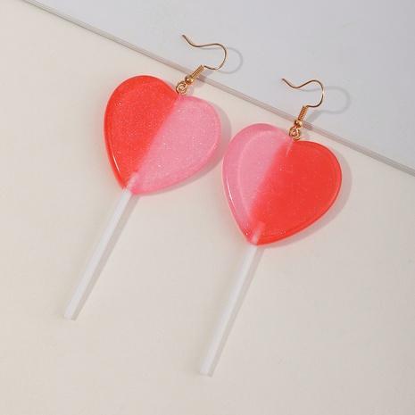 boucles d'oreilles coeur couleur pêche simple en résine NHNZ341523's discount tags