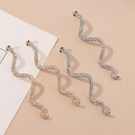 boucles d'oreilles en forme de serpent incurvées micro-incrustées de mode en gros NHNZ341535's discount tags