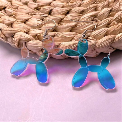 Stitching Poodle Colorful Plate Color Acrylic Earrings NHQC341607's discount tags