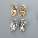 Fashion geometric gold silver alloy face sequin earrings wholesale NHQIY341568