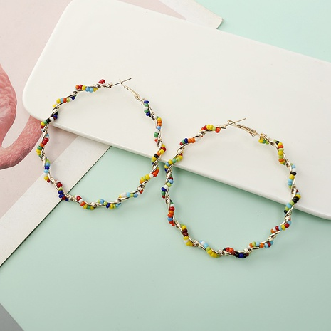 Boucles d'oreilles rondes en perles de riz bohème NHQIY341569's discount tags