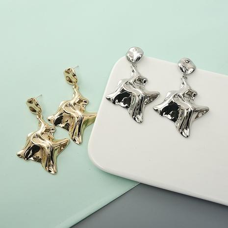 Les plis de la mode pressent des boucles d'oreilles irrégulières en gros NHQIY341580's discount tags