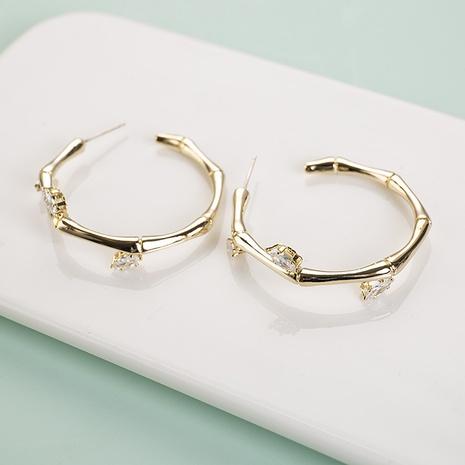 boucles d'oreilles de cercle de diamant joint en bambou NHQIY341583's discount tags