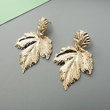 boucles d'oreilles en alliage de feuilles de métal exagérées à la mode simple NHQIY341587's discount tags