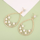 Creative dropshaped alloy acrylic pearls earrings NHQIY341590
