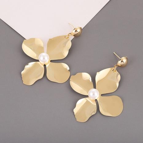 boucles d'oreilles à la mode simples à quatre pétales d'or NHQIY341592's discount tags