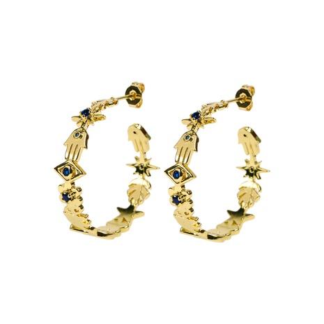 nouvelles boucles d'oreilles en zircon incrustées en forme de oeil de paume de la mode NHPY341601's discount tags