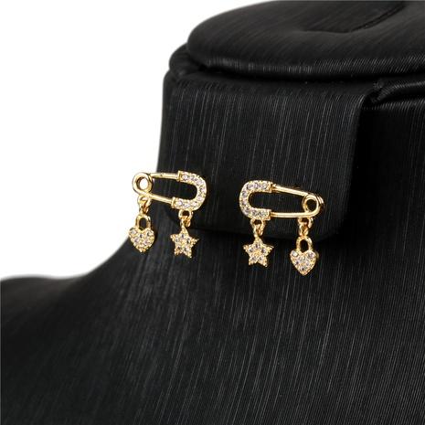 boucles d'oreilles en cuivre simple pin love diamond star NHPY341603's discount tags
