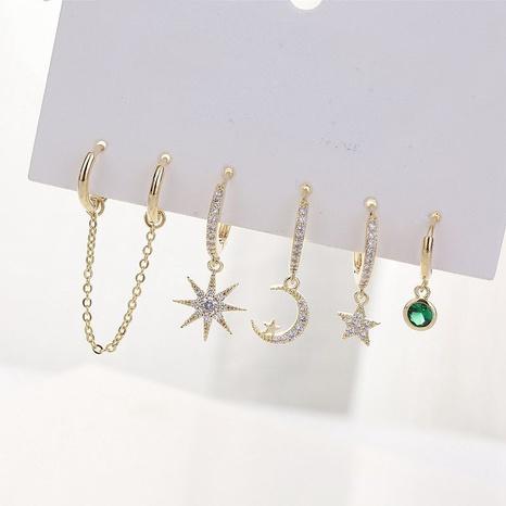 Ensemble de six boucles d'oreilles en cuivre zircon incrusté étoiles et lune de Corée NHCG341604's discount tags