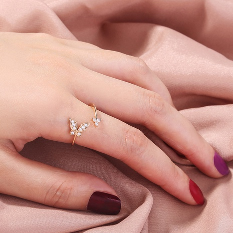fashion micro-inlaid golden mini zircon butterfly opening adjustable ring  NHAN341669's discount tags
