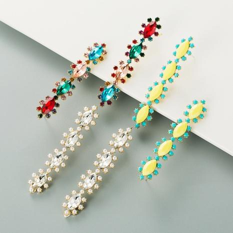 Mode Legierung eingelegte Farbe Strass lange Blumenohrringe NHLN341714's discount tags