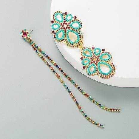 Asymmetrische hohle Blumenohrringe aus Korea-Strass NHLN341716's discount tags