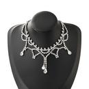 fashion exaggerated alloy diamond dropshaped pendant diamond necklace NHJE341721