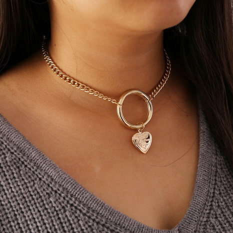 Mode einfache Pfirsich Herzkette Retro übertriebene Halskette NHBW341739's discount tags