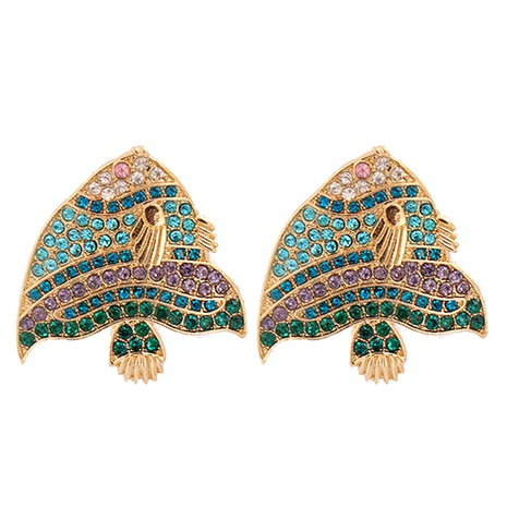 Mode volle Diamantfisch bunte Diamantohrringe Großhandel NHJJ341743's discount tags