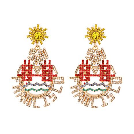 Koreanische Wassertropfen hohle Diamantlegierung Ohrringe Großhandel NHJJ341745's discount tags