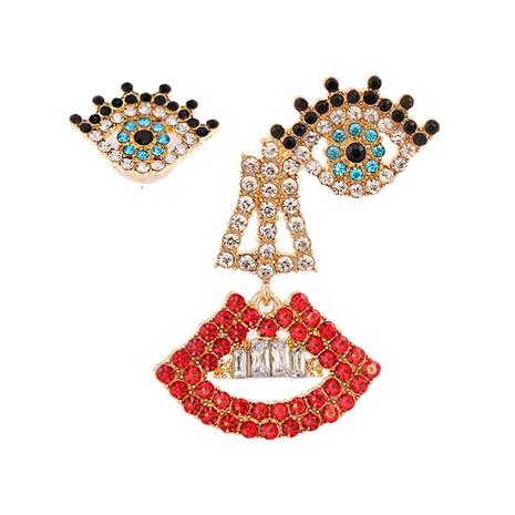 Mode asymmetrische Augen Lippen Legierung Ohrringe Großhandel NHJJ341750's discount tags