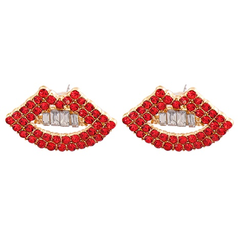 Mode rote Lippen Diamantlegierung Ohrringe Großhandel NHJJ341751's discount tags