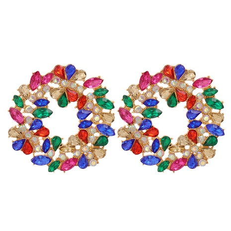 Koreanische geometrische Blattdiamantohrringe Großhandel NHJJ341753's discount tags