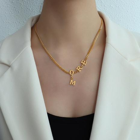 einfache Mode Stil Englisch mehr Brief Edelstahl Halskette NHOK341760's discount tags
