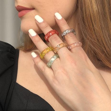 anillo de resina redonda transparente de color de moda NHMD341780's discount tags