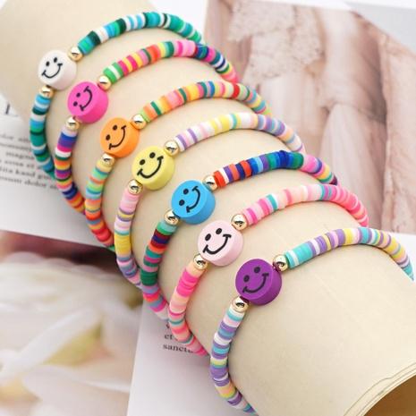Bracelet de visage de smiley multicolore perlé en céramique douce arc-en-ciel de mode NHGW341783's discount tags