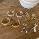 Fashion crossshaped arc alloy earrings wholesale NHYQ341787