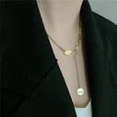 retro stainless steel chain round pendant necklace  NHYQ341795