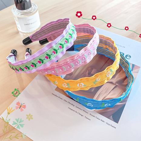 Einfaches Blumenstickerei-Blumenstirnband der koreanischen Mode NHNA341820's discount tags