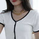 Fashion geometric metal chain alloy bracelet necklace set NHCT341866