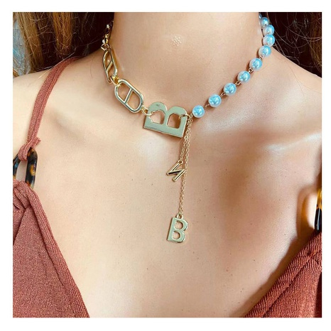 Fashion pearl chain alloy letter necklace wholesale NHCT341885's discount tags