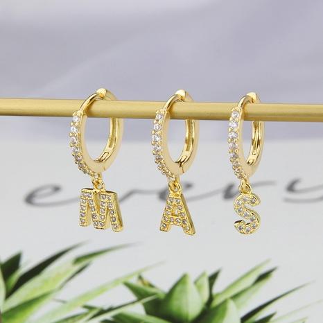 Boucles d'oreilles en zircon incrusté de cuivre lettre de mode en gros NHBP341924's discount tags