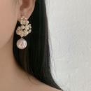 retro shell flower half circle pearl earrings  NHNT341927