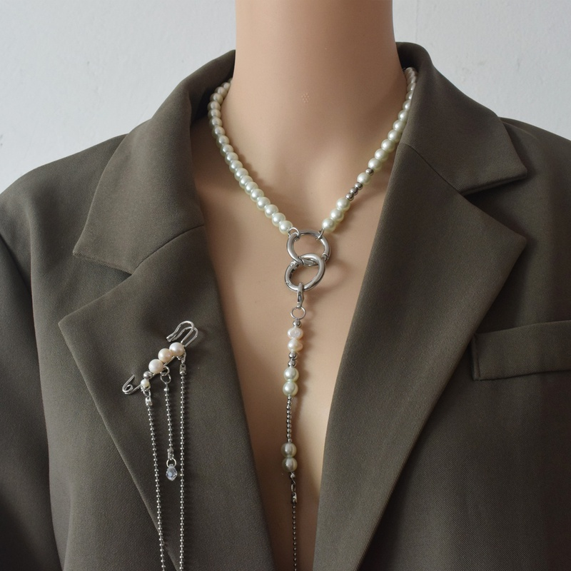fashion simple trendy pendant pearl necklace NHNT341933