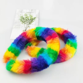 fashion rainbow color plush hair band wholesale NHDM341951