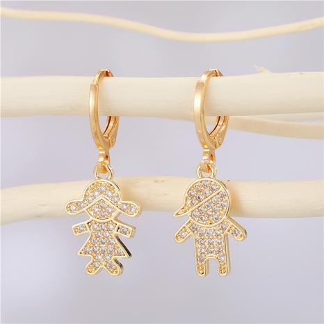 Boucles d'oreilles en zircon diamant asymétrique en alliage créatif de mode coréenne NHGO341979's discount tags