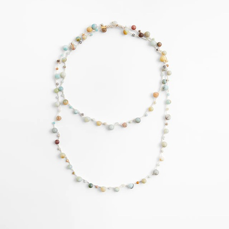 Mode New Style gewebte Naturstein mehrschichtige Halskette NHLA342024's discount tags