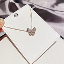 Fashion butterfly copper inlaid zircon necklace wholesale NHCG342054