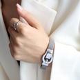 NHOK1587388-Steel-color-belt-buckle-magnet-bracelet-16.5cm