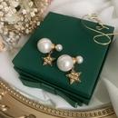 Retro doublesided pearl star earrings NHWK342082