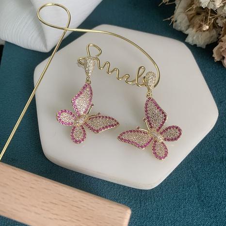 Mode rosa Schmetterling Kupfer Zirkon Ohrringe NHWK342085's discount tags