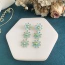 Fashion blue daisy long super flash transparent copper earrings NHWK342091
