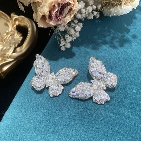 Mode weißen Schmetterling Kupfer Zirkon Ohrringe Großhandel NHWK342097's discount tags