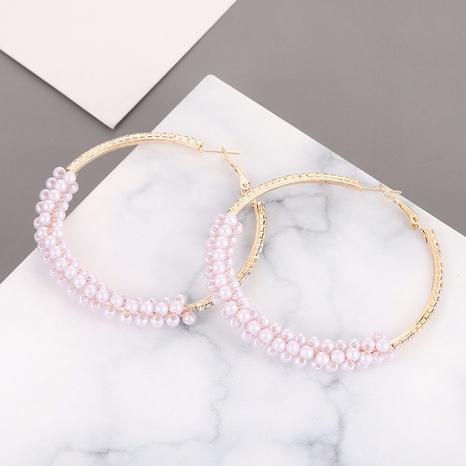 Mode Perle gewebte runde Ohrringe Großhandel NHQIY342157's discount tags