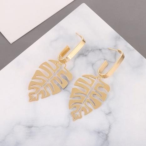 Mode einfache Legierung Blatt übertriebene hohle Ohrringe NHQIY342159's discount tags