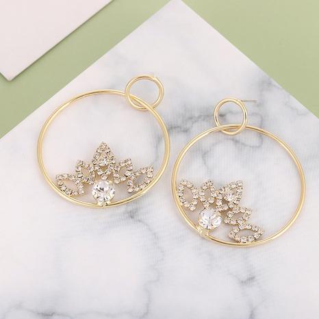Mode S925 Silber Nadel einfache Kreisblatt Diamantohrringe NHQIY342160's discount tags