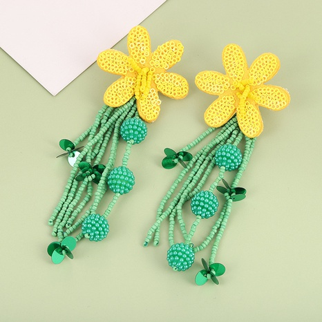 Handmade rice beads tassel bohemian rice beads flower earrings NHQIY342165's discount tags