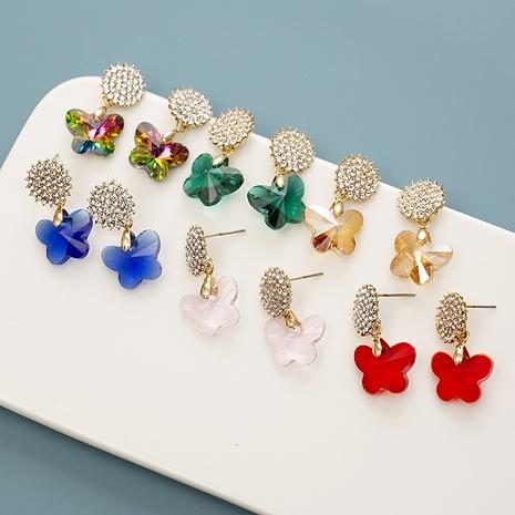 Mode Kristalllegierung eingelegte Zirkon Farbe Schmetterlingsohrringe NHQIY342172's discount tags